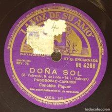 Discos de pizarra: DISCO 78 RPM - VSA - CONCHITA PIQUER - ORQUESTA - PASODOBLE - DOÑA SOL - ZAMBRA - PIZARRA. Lote 182256967