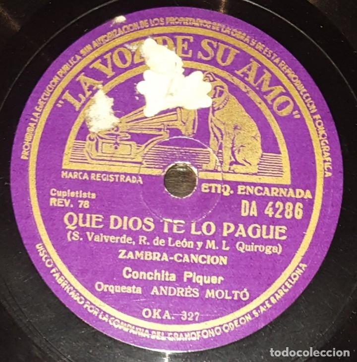Discos de pizarra: DISCO 78 RPM - VSA - CONCHITA PIQUER - ORQUESTA - PASODOBLE - DOÑA SOL - ZAMBRA - PIZARRA - Foto 2 - 182256967