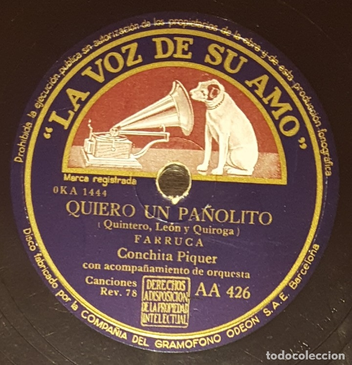 DISCO 78 RPM - VSA - CONCHITA PIQUER - FARRUCA - QUIERO UN PAÑOLITO - A VER SI ME QUIERES - PIZARRA (Música - Discos - Pizarra - Flamenco, Canción española y Cuplé)