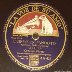 Discos de pizarra: DISCO 78 RPM - VSA - CONCHITA PIQUER - FARRUCA - QUIERO UN PAÑOLITO - A VER SI ME QUIERES - PIZARRA. Lote 182257473