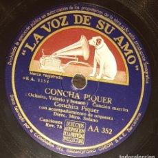 Discos de pizarra: DISCO 78 RPM - VSA - CONCHITA PIQUER -CON EL ALMA EN LOS LABIOS - CONCHA PIQUER - BOLERO - PIZARRA. Lote 182257958