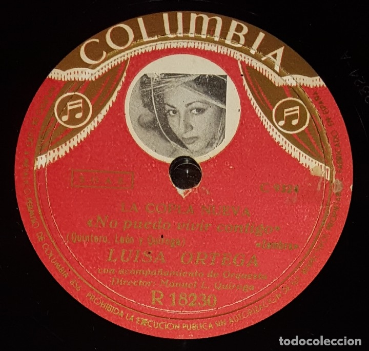 DISCO 78 RPM - COLUMBIA - LUISA ORTEGA - LA COPLA NUEVA - ZAMBRA - NO PUEDO VIVIR CONTIGO - PIZARRA (Música - Discos - Pizarra - Flamenco, Canción española y Cuplé)