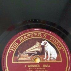 Discos de pizarra: DISCO 78 RPM - HMV - SAVOY ORPHEANS - SAVOY HAVANA BAND - I WONDER - JUST DRIFTING - JAZZ - PIZARRA. Lote 182359450