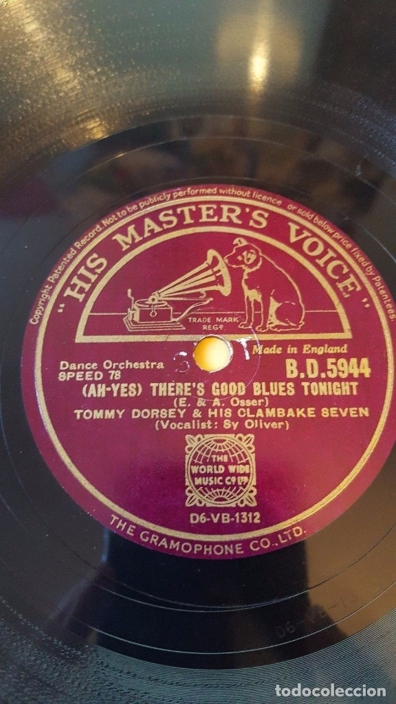 DISCO 78 RPM - HMV - TOMMY DORSEY - CLAMBAKE SEVEN - THERE´S NO ONE BUT YOU - DANCE - PIZARRA (Música - Discos - Pizarra - Jazz, Blues, R&B, Soul y Gospel)