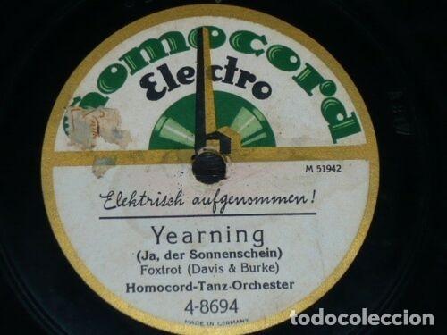 Discos de pizarra: DISCO 78 RPM - HOMOCORD - HOMOCORD TANZ ORCHESTER - ALL ALONE - YEARNING - FOXTROT - PIZARRA - Foto 2 - 182364467