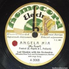 Discos de pizarra: DISCO 78 RPM - HOMOCORD - LUD GLUSKING - ORQUESTA - ANGELA MIA - SONNY BOY - JAZZ - RARO - PIZARRA. Lote 182365725