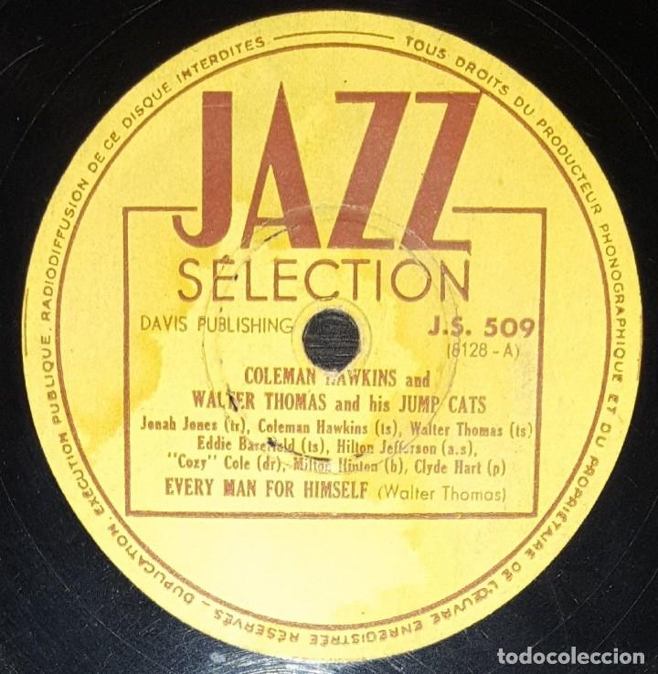 DISCO 78RPM - JAZZ SELECTION - COLEMAN HAWKINS - WALTER THOMAS - JUMP CATS - LOOK OUT JACK - PIZARRA (Música - Discos - Pizarra - Jazz, Blues, R&B, Soul y Gospel)