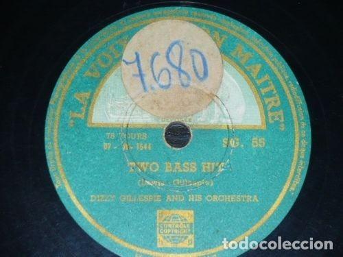 DISCO 78 RPM - VSA - DIZZY GILLESPIE - ORQUESTA - TWO BASS HIT - STAY ON IT - JAZZ - PIZARRA (Música - Discos - Pizarra - Jazz, Blues, R&B, Soul y Gospel)