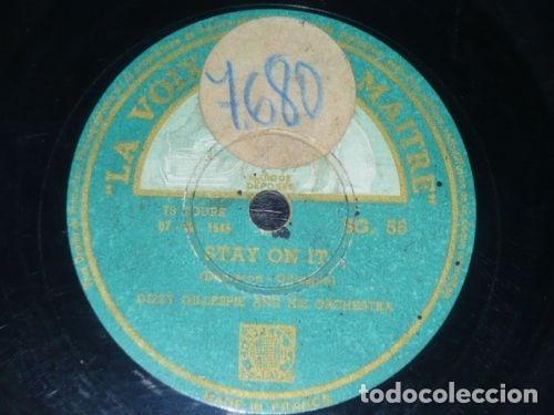 Discos de pizarra: DISCO 78 RPM - VSA - DIZZY GILLESPIE - ORQUESTA - TWO BASS HIT - STAY ON IT - JAZZ - PIZARRA - Foto 2 - 182372545