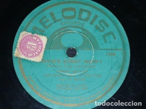 DISCO 78 RPM - MELODISC - SIDNEY BECHET - HUMPHREY LYTTELTON - ORQUESTA - WHO´S SORRY NOW - PIZARRA (Música - Discos - Pizarra - Jazz, Blues, R&B, Soul y Gospel)