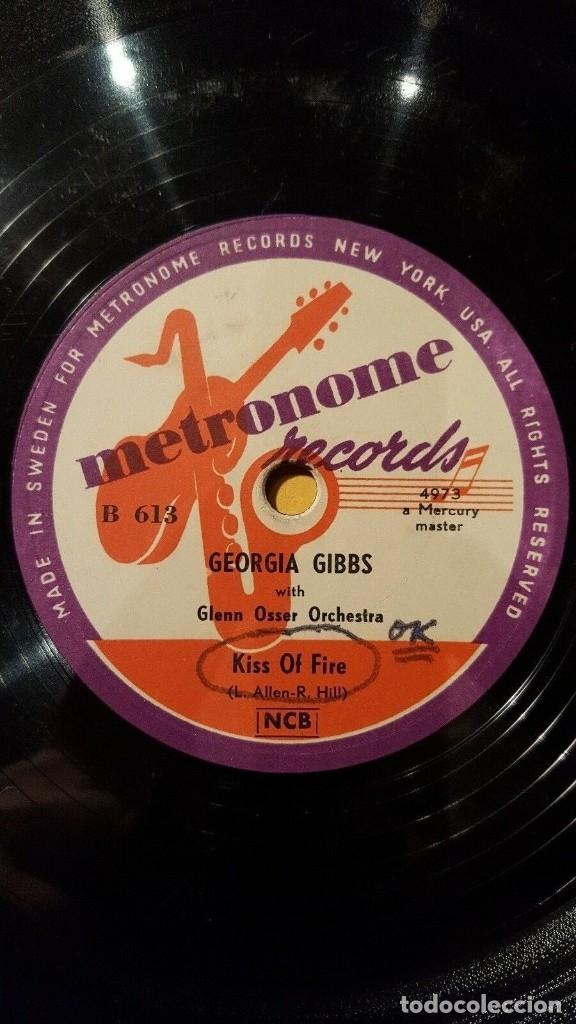 DISCO 78 RPM - METRONOME - GEORGIA GIBBS - ORQUESTA - KISS OF FIRE - SO MADLY IN LOVE - PIZARRA (Música - Discos - Pizarra - Jazz, Blues, R&B, Soul y Gospel)
