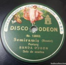 Discos de pizarra: DISCO DE PIZARRA. BANDA ODEÓN. SOLO DE OCARINA SEMIRAMIS ROSSINI / DANUBIO AZUL. Lote 182749475