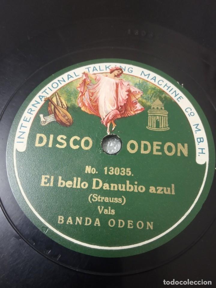 Discos de pizarra: Disco de pizarra. BANDA Odeón. Solo de Ocarina Semiramis Rossini / Danubio Azul - Foto 2 - 182749475
