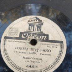 Discos de pizarra: DISCO DE PIZARRA : MARIO VISCONTI Y SU ORQUESTA : UNO DOS Y TRES + POEMA SEVILLANO . Lote 182976998