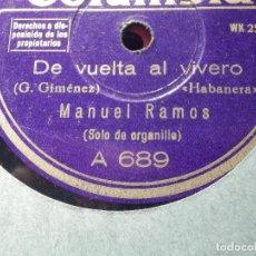 Discos de pizarra: PIZARRA - COLUMBIA A 689 - MANUEL RAMOS - ORGANILLERO - DE VUELTA AL VIVERO, DON QUINTIN EL AMARGAO. Lote 184232656