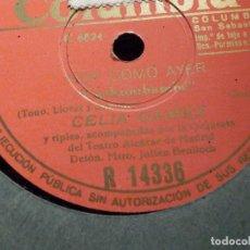 Discos de pizarra: DISCO DE PIZARRA - COLUMBIA R 14336 - CELIA GAMEZ - HOY COMO AYER - ORQUESTA TEATRO ALCAZAR MADRID. Lote 184232701