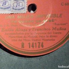 Discos de pizarra: COLUMBIA R 14174 - EMILIA ALIAGA, UNA MUJER IMPOSIBLE, LA CALLE SIN UN FAROL, YO QUIERO UN BEBE. Lote 184232765