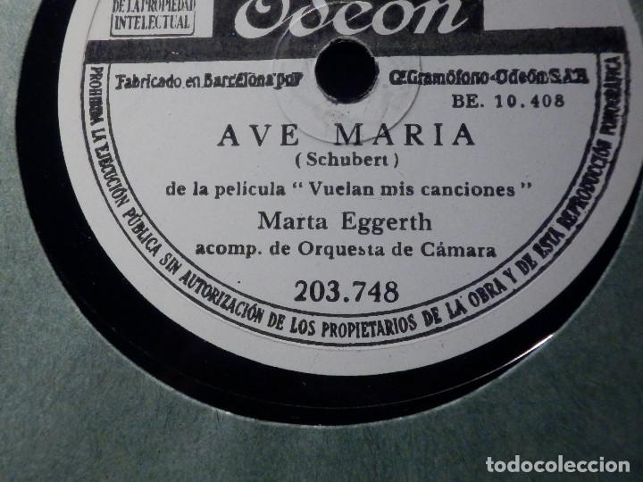 DISCO DE PIZARRA - ODEON 203.748 - MARTA EGGERTH - AVE MARÍA - SERENATA - SCHUBERT (Música - Discos - Pizarra - Clásica, Ópera, Zarzuela y Marchas)