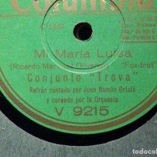 Discos de pizarra: DISCO DE PIZARRA - COLUMBIA V 9215 - CONJUNTO TROVA - MI MARÍA LUISA - SUEÑO SER FELIZ -. Lote 184236638