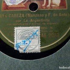 Discos de pizarra: DISCO DE PIZARRA - LA VOZ DE SU AMO AE 2083 - LA ARGENTINITA - VAYA CABEZA - ALEGRIA SOLERA. Lote 184237098