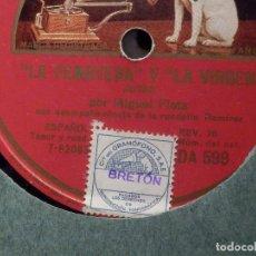 Discos de pizarra: DISCO DE PIZARRA - LA VOZ DE SU AMO DA 599 - MIGUEL FLETA - LA FEMATERA Y LA VIRGEN - LA DOLORES. Lote 184237388
