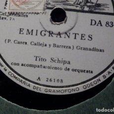 Discos de pizarra: DISCO DE PIZARRA - LA VOZ DE SU AMO - DA 834 - TITO SCHIPA - EMIGRANTES - PRINCESITA. Lote 184292880
