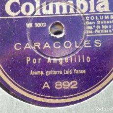 Discos de pizarra: DISCO DE PIZARRA - COLUMBIA A 892 - ANGELILLO - CARACOLES - TENGO UNA JACA PIA. Lote 184384745