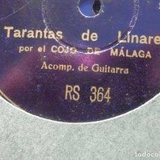 Discos de pizarra: DISCO PIZARRA REGAL RS 364 - EL COJO DE MÁLAGA - TARANTAS DE LINARES -CARTAGENERAS NUM. 1 -. Lote 184386611