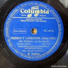 Discos de pizarra: ORQUESTA DE LA UNIVERSAL - EN FORMA, IN THE MOOD / PENNSYLVANIA 6-5000 - GLENN MILLER. Lote 184469978