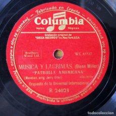Discos de pizarra: ORQUESTA DE LA UNIVERSAL - ST. LOUIS BLUES / AMERICAN PATROL - GLENN MILLER, MÚSICA Y LAGRIMAS. Lote 184470182