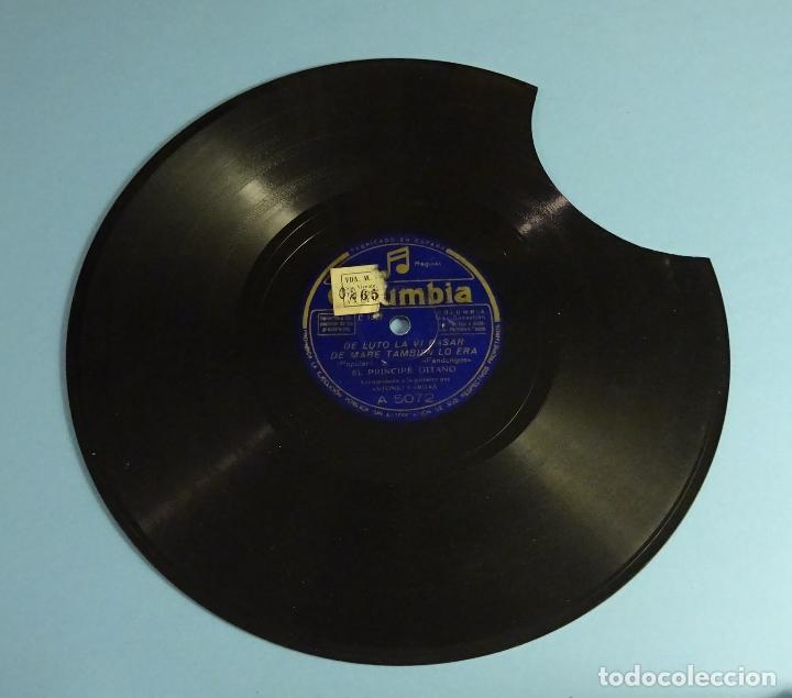 DISCO DE PIZARRA EL PRINCIPE GITANO. GUITARRA ANTONIO VARGAS. FANDANGOS. SOLEARES. ROTO (Música - Discos - Pizarra - Flamenco, Canción española y Cuplé)
