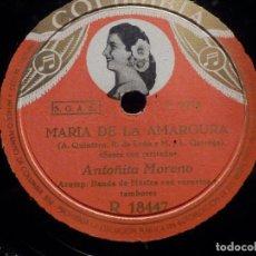 Discos de pizarra: DISCO PIZARRA - COLUMBIA R 18447 - ANTOÑITA MORENO - ROSA DE LA LETANÍA - MARÍA DE LA AMARGURA. Lote 184743848