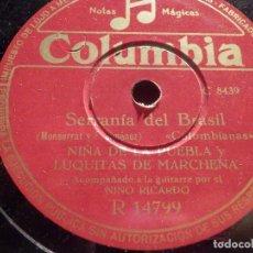 Discos de pizarra: COLUMBIA R 14799 - NIÑA DE LA PUEBLA Y LUQUITAS DE MARCHENA - SERRANÍA DE BRASIL, SU PERFUME AL VIEN. Lote 184744310