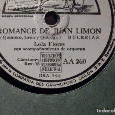 Discos de pizarra: DISCO DE PIZARRA - LA VOZ DE SU AMO AA 260 - LOLA FLORES - ROMANCE DE JUAN LIMÓN, TU ABUELA CARLOTA. Lote 184745912
