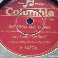 Discos de pizarra: DISCO PIZARRA COLUMBIA R 14704 CORO RONDA GARCILASO TORRELAVEGA MAS SERENA SALE EL AGUA,EA QUE SE VA. Lote 184746720