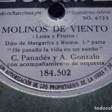 Discos de pizarra: DISCO DE PIZARRA ODEON 184502 C. PANADÉS Y A. GONZÁLEZ -DUO DE MARGARITA Y ROMO - MOLINOS DE VIENTO. Lote 184746865