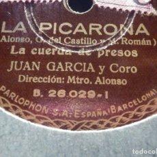 Discos de pizarra: DISCO PIZARRA PARLOPHON B 26029 JUAN GARCÍA Y CORO, CUERDA DE PRESOS, LA PICARONA, PAJARITO TRIGUERO. Lote 184746946