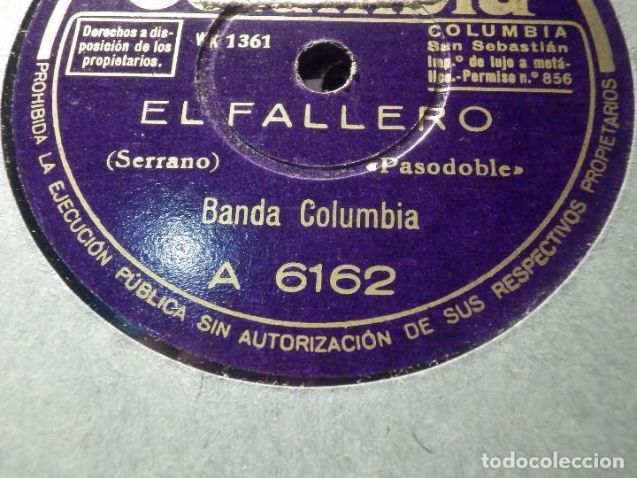 DISCO DE PIZARRA - COLUMBIA A 6162 - BANDA COLUMBIA - EL FALLERO - KIK-OFF (Música - Discos - Pizarra - Clásica, Ópera, Zarzuela y Marchas)
