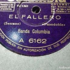 Discos de pizarra: DISCO DE PIZARRA - COLUMBIA A 6162 - BANDA COLUMBIA - EL FALLERO - KIK-OFF. Lote 184820228