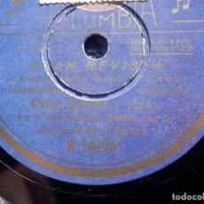 Discos de pizarra: DISCO PIZARRA - COLUMBIA R 14357 - CELIA GAMEZ - GRAN REVISTA - MANOLETIN - CARLOS CASARVILLA, TODAS. Lote 184820821