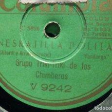 Discos de pizarra: COLUMBIA V 9242 - GRUPO TRIKI-TRIKI DE LOS CHIMBEROS - YA NO QUEDA EN BILBAO - NESKATILLA POLITA. Lote 185733033