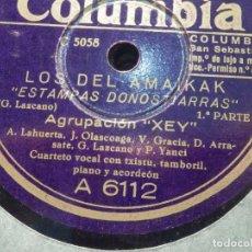 Discos de pizarra: DISCO PIZARRA COLUMBIA A 6112 - AGRUPACIÓN XEY - LOS DEL AMAIKAK - ESTAMPAS DONOSTIARRAS 1ª, 2º PART. Lote 185734295