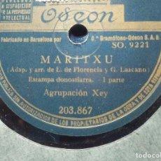 Discos de pizarra: DISCO PIZARRA ODEON 203.867 - AGRUPACIÓN XEY - MARITXU - ESTAMPAS DONOSTIARRAS 1ª, 2º PARTE. Lote 185734583