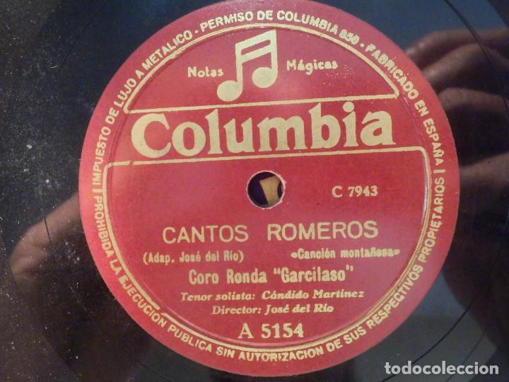 COLUMBIA A 5154 - CORO RONDA GARCILASO - TENOR JUAN ELVIRA - EN EL BAILE LA ENCONTRÉ, CANTOS ROMEROS (Música - Discos - Pizarra - Clásica, Ópera, Zarzuela y Marchas)