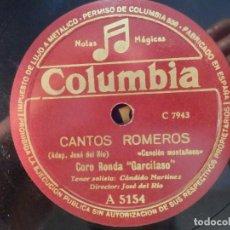 Discos de pizarra: COLUMBIA A 5154 - CORO RONDA GARCILASO - TENOR JUAN ELVIRA - EN EL BAILE LA ENCONTRÉ, CANTOS ROMEROS. Lote 185740745