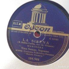 Discos de pizarra: DISCO DE PIZARRA ODEON 184.944 - YMA SUMAC, SOPRANO - LA SIRENA - PARIWANA. Lote 185742020
