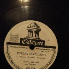 Discos de pizarra: DISCO DE PIZARRA MARIO VISCONTI Y SU ORQUESTA: POEMA SEVILLANO + UNO DOS Y TRAS. Lote 185742423
