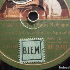 Discos de pizarra: PIZARRA GRAMÓFONO AE 2361 ORQUESTA TÍPICA ARGENTINA SPAVENTA - LA CUMPARSITA, NO SALGAS DE TU BARRIO. Lote 186031872