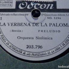 Discos de pizarra: LA VERBENA DE LA PALOMA - ORQUESTA SINFÓNICA - 8 DISCOS DE PIZARRA ODEON 203.796 A 203.803 -. Lote 186121888