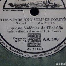 Discos de pizarra: PIZARRA ODEON AA 190 - ORQUESTA SINFÓNICA DE FILADELFIA - THE STARS AND STRIPES FOREVER, EL CAPITAN. Lote 186123887